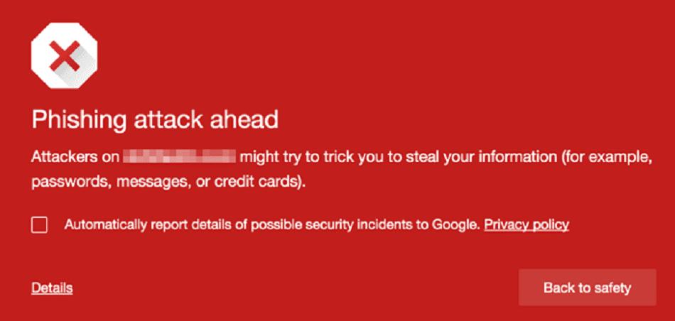 Google's phishing warning sign, showing