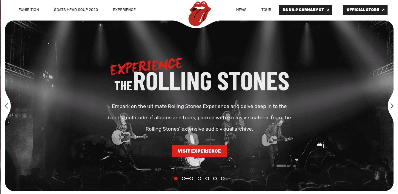 The Rolling Stone's homepage screenshot.