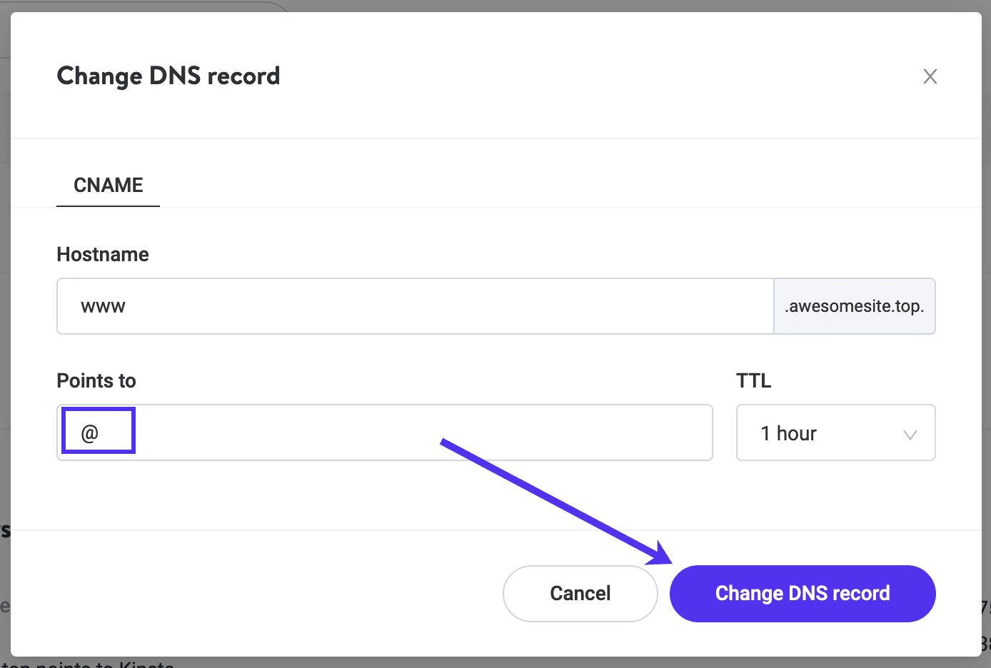 Cambiando el www CNAME de su dominio en Kinsta DNS