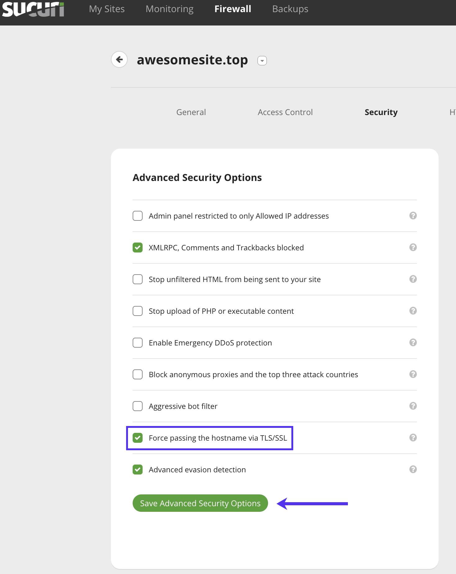 Seleccione Forzar la transmisión del nombre de host a través de TLS/SSL Opciones de seguridad avanzadas en Sucuri