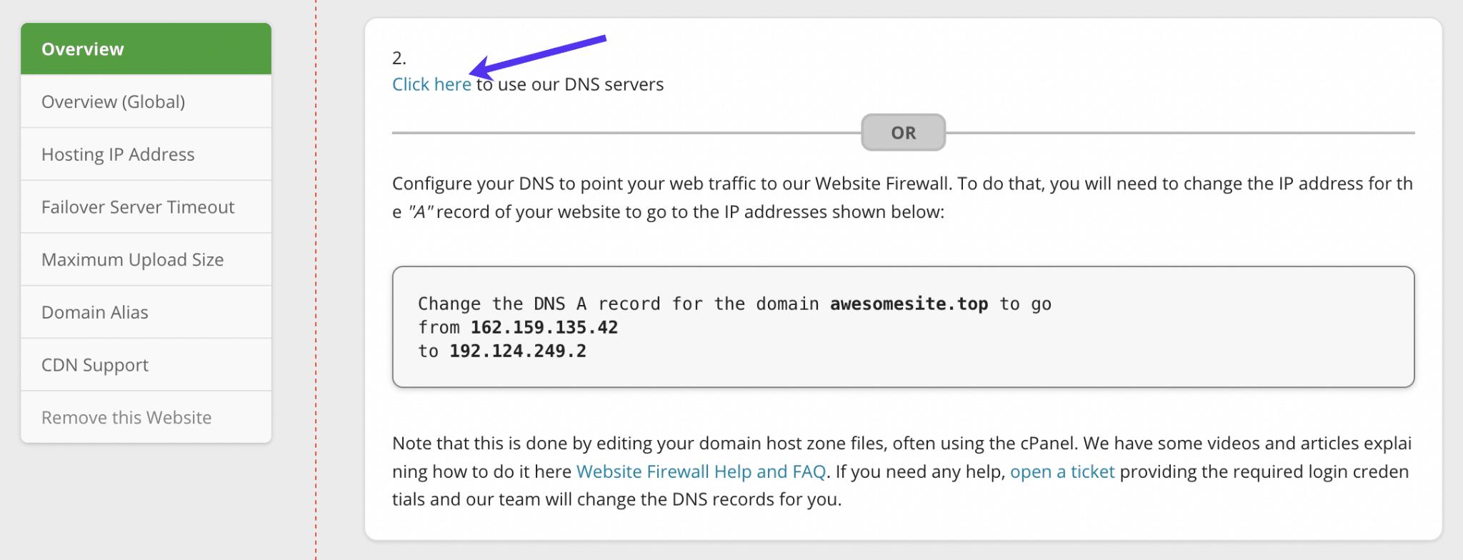 Haciendo clic en el enlace de los servidores DNS en Sucuri