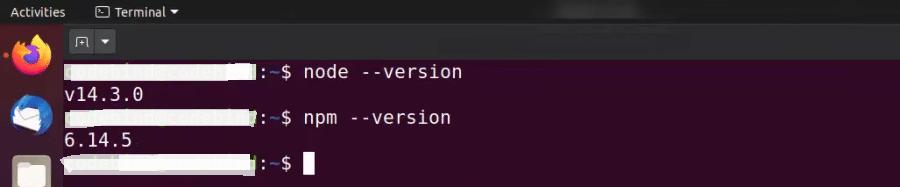 Verifying Node.js installation on Ubuntu.