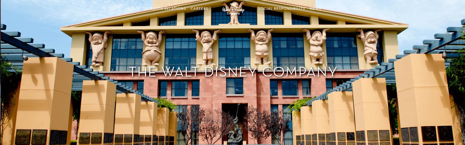 Walt Disney homepage screenshot.