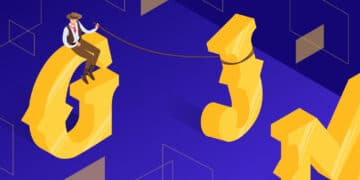 """Illustration for western font showing a cowboy figure sitting on top of a giant yellow letter """"G""""."""