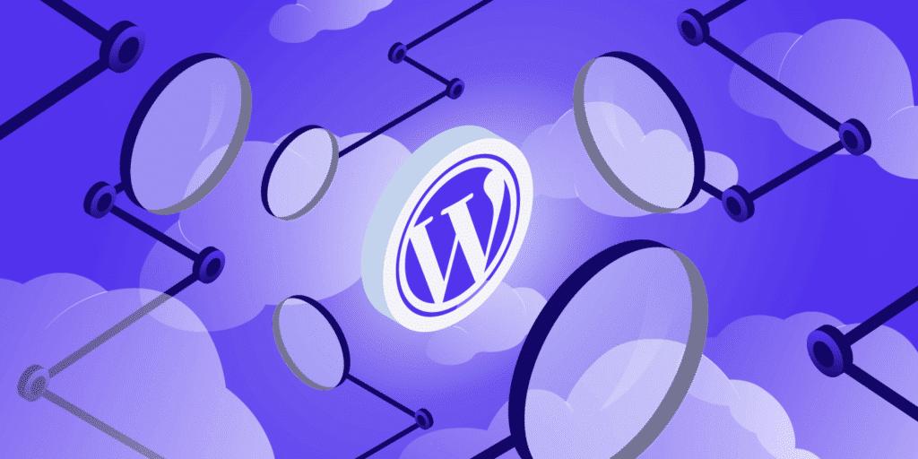 An illustration of magnifying glasses focusing on the WordPress logo.