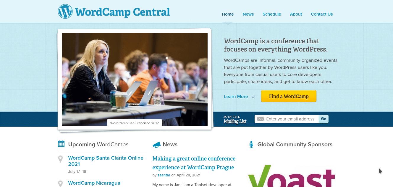 Screenshot of the WordCamp homepage.