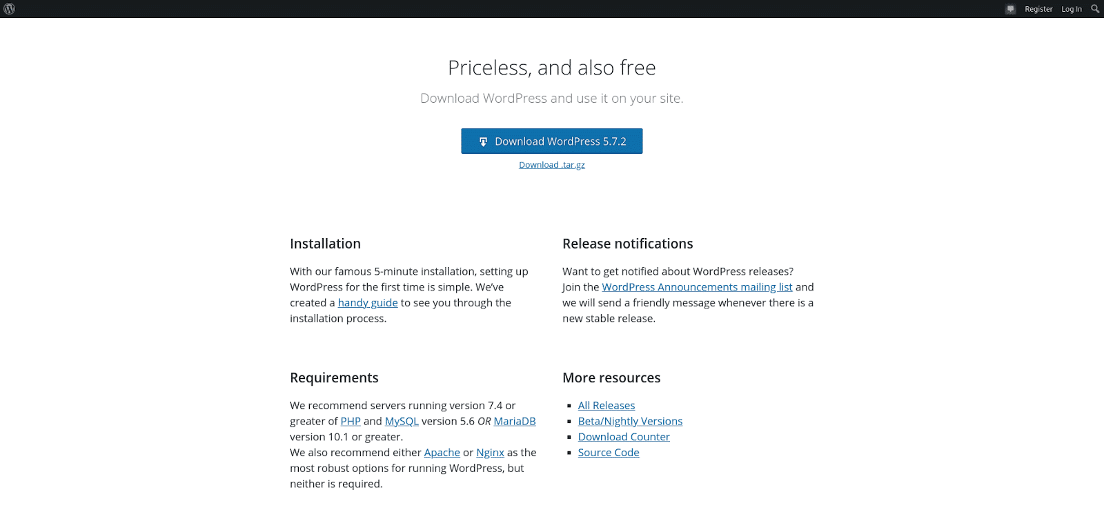 Screenshot of the WordPress Download page.