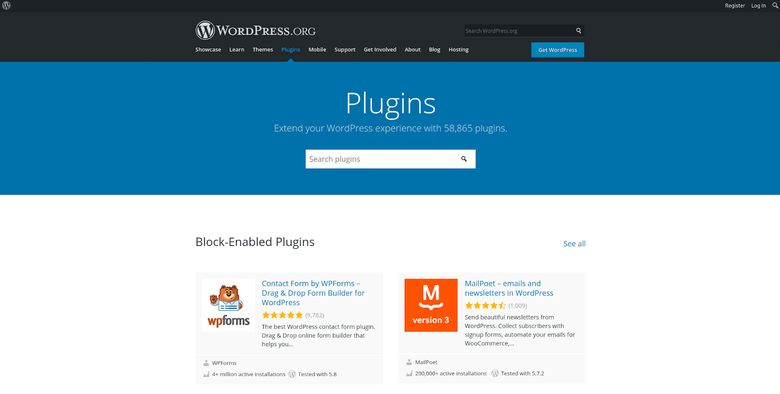 Screenshot of the WordPress Plugins official repository page.