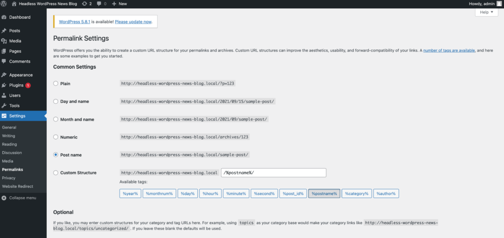 The WordPress Permalink settings page.