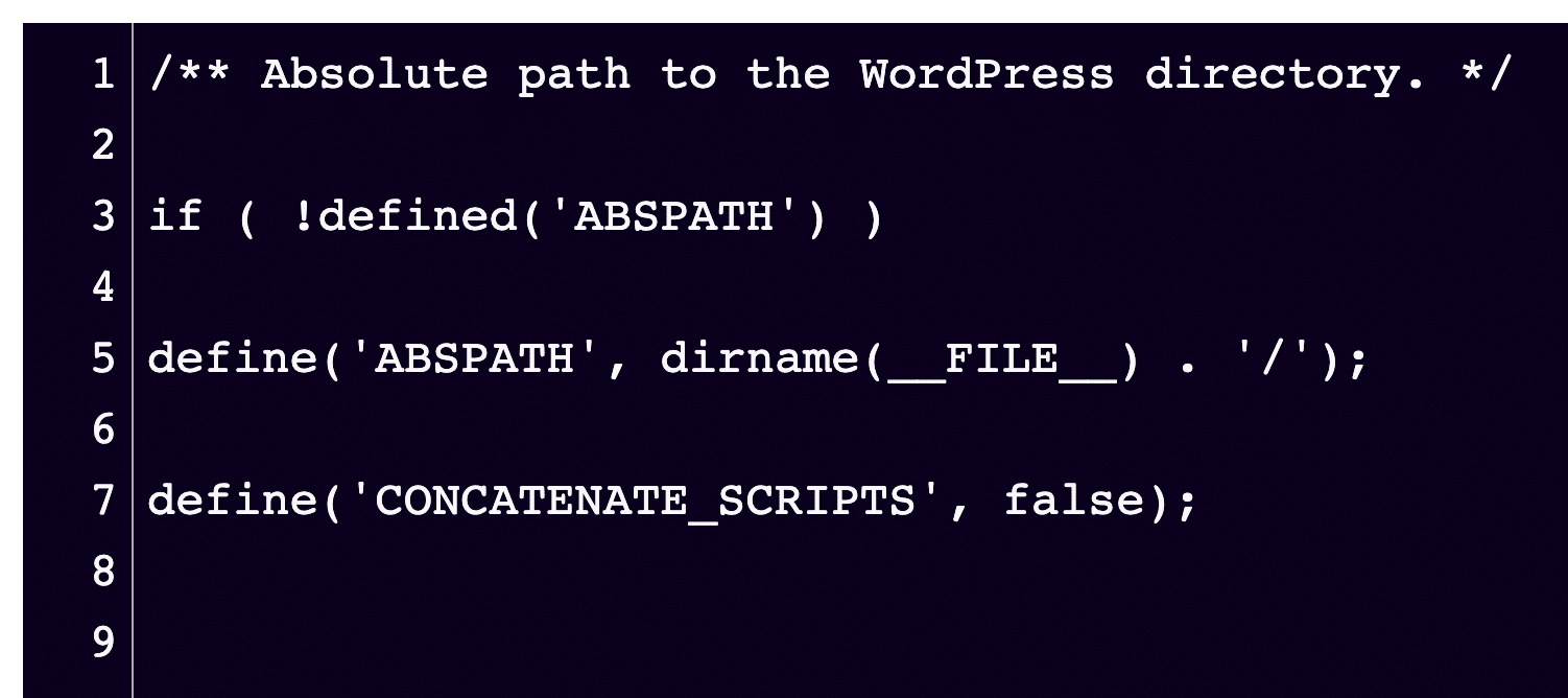 Once added to the wp-config.php file, this is what your snippet will look like.