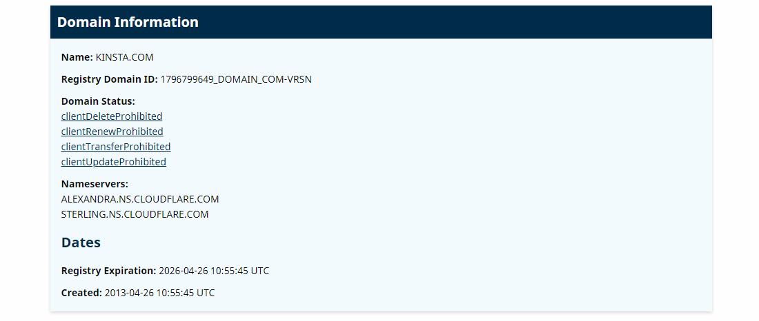 Domain information for Kinsta.com through ICANN Lookup tool.