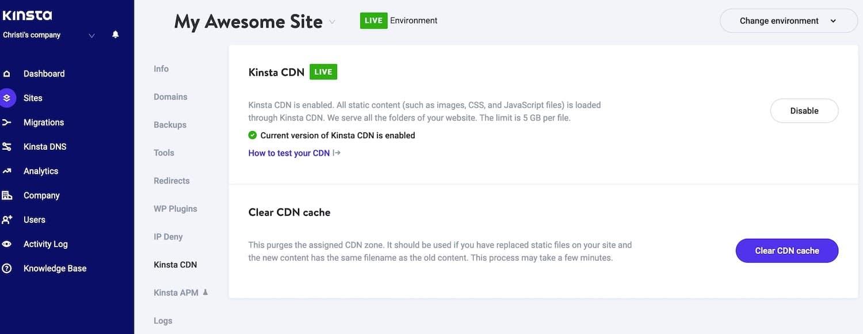 Current version of Kinsta CDN enabled in MyKinsta.
