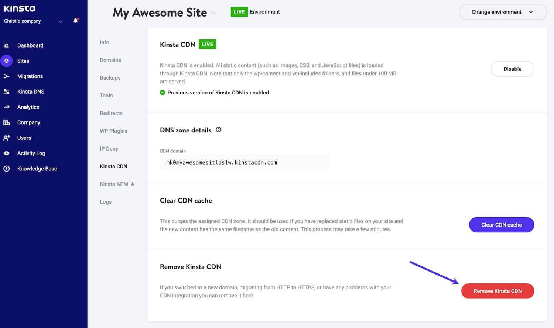 Click on Remove Kinsta CDN button to remove Kinsta CDN in MyKinsta.